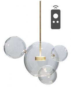 Bubble 4 - duża nowoczesna lampa wisząca - szklane kule pilot, przyciemnianie, 3000-5000K